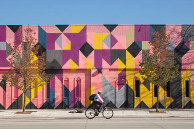 A mural by Andrew Kuo on the Museum of Contemporary Art in Detroit, Nov. 7, 2016. In 2015, Detroit was named a Unesco City of Design. But 2017 may be the year promise becomes reality. (Kevin Miyazaki/The New York Times) *** Local Caption *** 14912179 NORTH AMERICA DETROIT TRAVEL VACATION 52PLACES TOURISM ARTS CULTURE