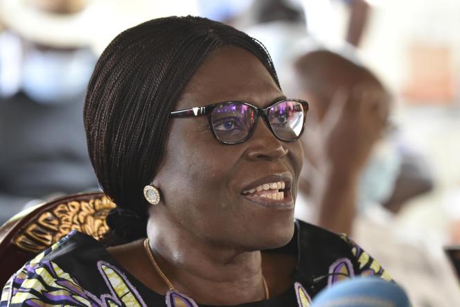 L'ex-première dame de Côte d'Ivoire Simone Gbagbo lors d'une conférence de presse à Abidjan, le 11août 2020.