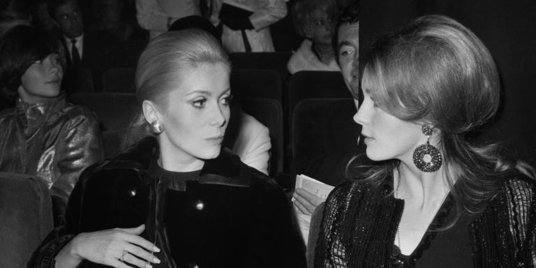 Undated photo shows French actresses and sisters Francoise Dorleac (R) and Catherine Deneuve (L).  AFP PHOTO (Photo by - / AFP)