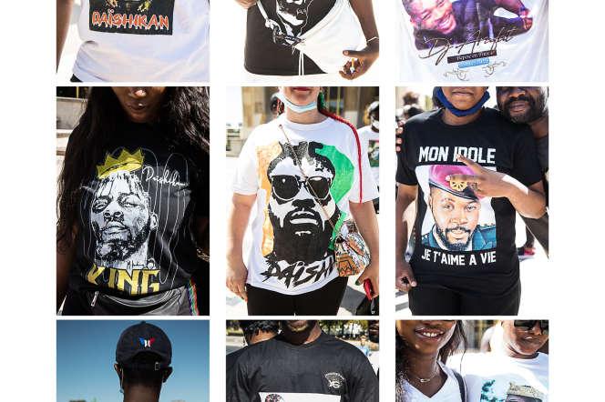 Des tee-shirts de participants à l'hommage à DJ Arafat à Paris, le 12août 2020.