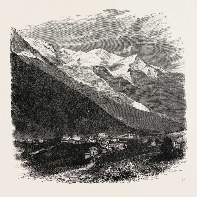 Le mont Blanc, gravure du XIXe siècle.