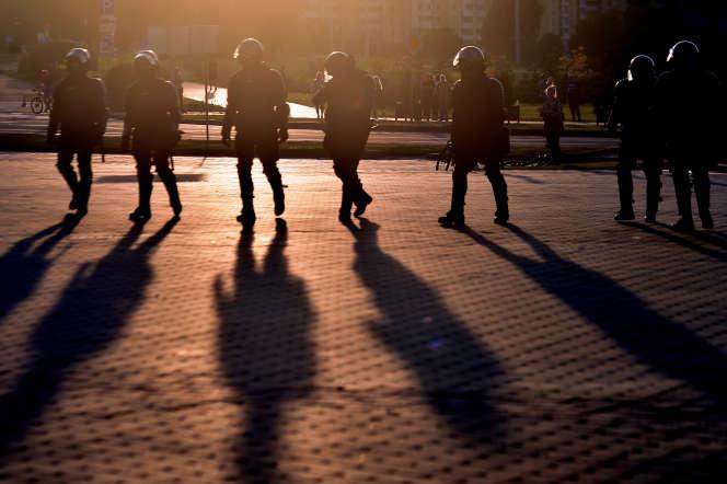 Police antiémeute, à Minsk, le 10 août 2020.