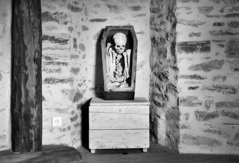 Le squelette, exposé dans le manoir, St Pierre de Frugie, le 31 juillet.