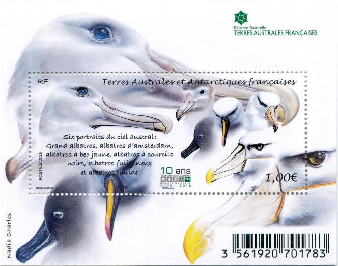 Portraits d'albatros, par Nadia Charles, timbre émis par les TAAF en 2016.