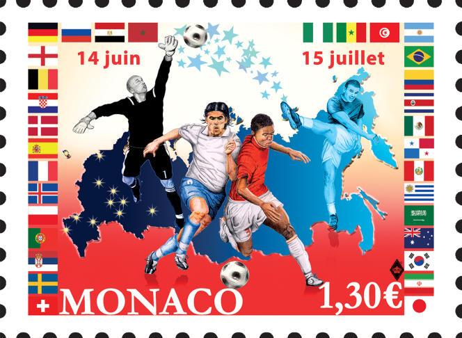 Timbre émis par Monaco à l'occasion de la coupe du monde de football, en Russie (2018), dessiné par David Maraskin.