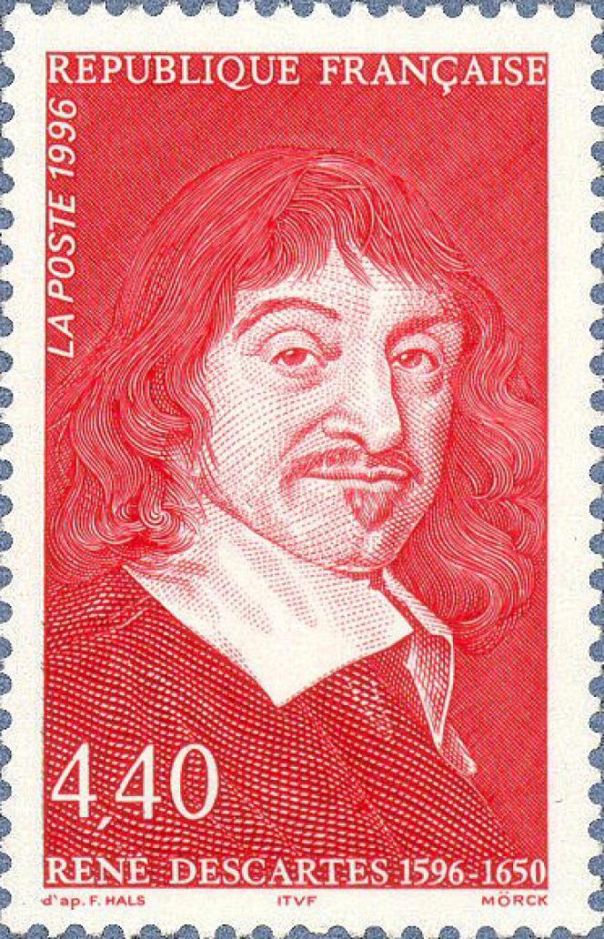 « René Descartes 1596-1650), gravé par Martin Mörck (1996) daprès une gravure de Frans Hals, imprimé en taille-douce.