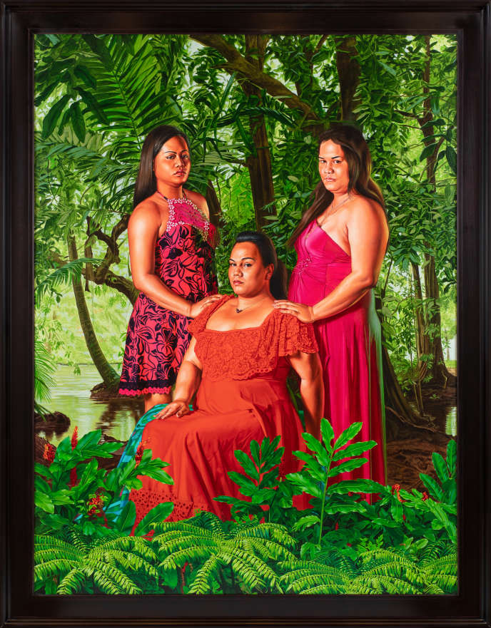 « The Call » (2019), issu de la série « The World Stage : Tahiti », de Kehinde Wiley. Huile sur toile de lin (244 × 183 cm).