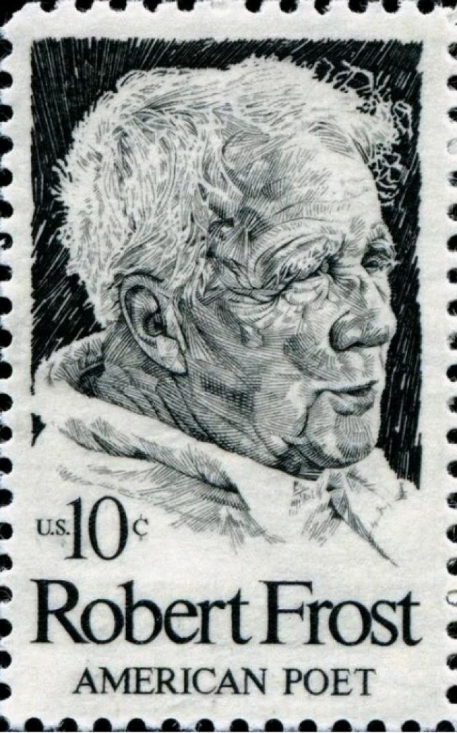 « Robert Fost», timbre paru aux Etats-Unis en 1974, dessiné par Paul Calle.