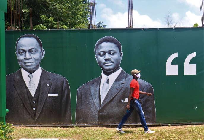Des portraits des anciens présidents ivoiriens Félix Houphouët-Boigny et Henri Konan Bédié, lors de la convention du PDCI pour désigner son candidat à l'élection présidentielle d'octobre, à Abidjan, le 26juillet 2020.