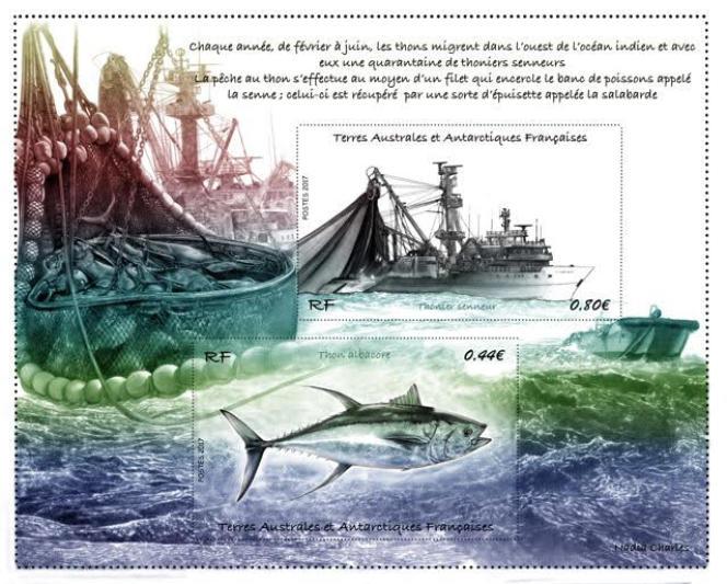 Thonier senneur et thon albacore, timbres dessnés par Nadia Charles réunis dans un feuillet émis par les TAAF (2017).