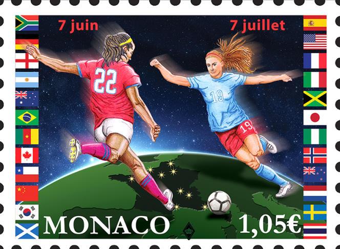 Timbre de Monaco émis à l'occasion de la Coupe du monde de football féminin, en France (2019).