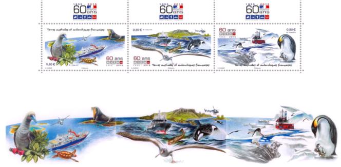 Les premiers timbres de Nadia Charles, pour les TAAF, en 2015, et la maquette originale d'un seul tenant.