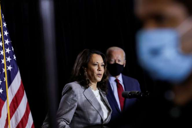 La candidate à la vice-présidence Kamala Harris et le candidat démocrate Joe Biden, à Wilmington ( Delaware), le 13 août.