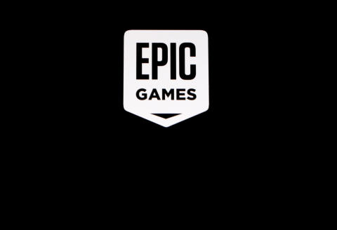 """The Epic Games logo, maker of the popular video game """"Fortnite"""", is pictured on a screen in this picture illustration August 14, 2020. REUTERS/Brendan McDermid/Illustration"""