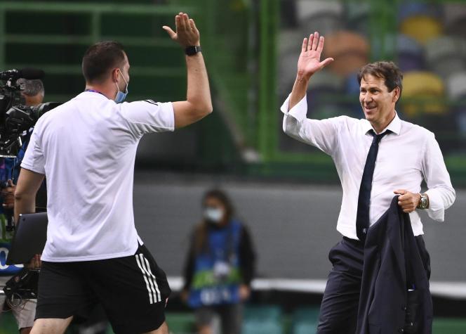L'entraîneur de Lyon,Rudi Garcia, à Lisbonne, samedi 15 août.