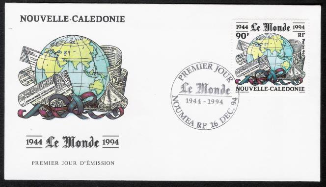 Enveloppe « premier jour» du timbre dessiné pour la Nouvelle-Calédonie par Jean-Paul Véret-Lemarinier sur le cinquantenaire du« Monde» (1994).