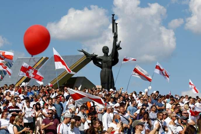 Rassemblement contre le président Alexander Lukachenko, à Minsk, le 16 août.