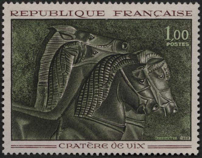 « Cratère de Vix», gravé par Jacques Combet (1966), imprimé en taille-douce.