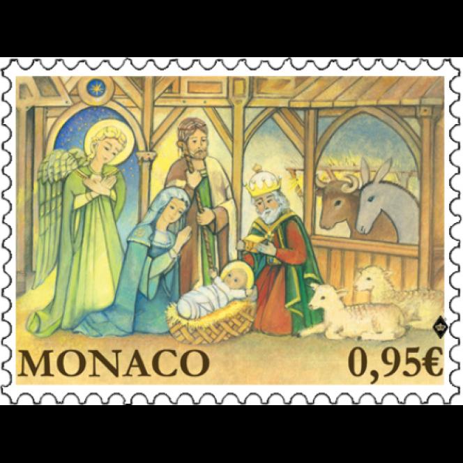 Le dernier timbre de Jean-Paul Véret-Lemarinier, paru à Monaco en 2018, sur la Nativité pour Noël.