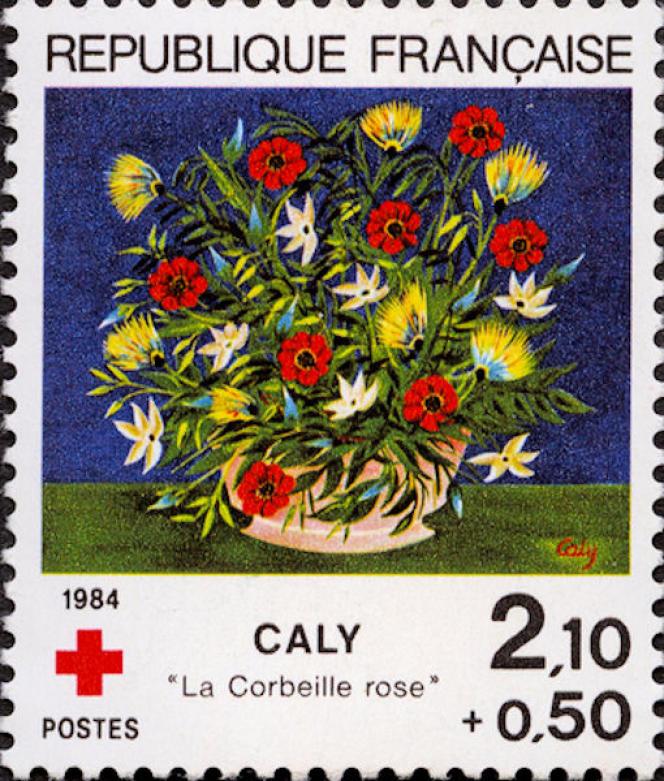 Timbre dessiné par Jean-Paul Véret-Lemarinier pour la Croix-Rouge française, d'après « La Corbeille rose», de Caly (1984).
