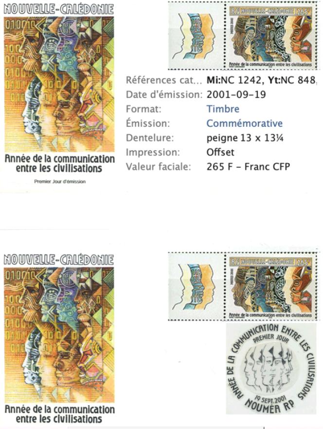 « Année de la communication entre les civilisations», timbre de Nouvelle-Calédonie par Jean-Paul Véret-Lemarinier (2001).