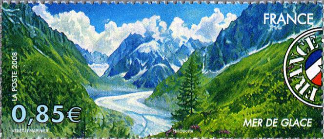 « Mer de Glace», timbre dessiné par Jean-Paul Véret-Lemarinier (D'ap. photos Marge / Sunset) émis en 2008.