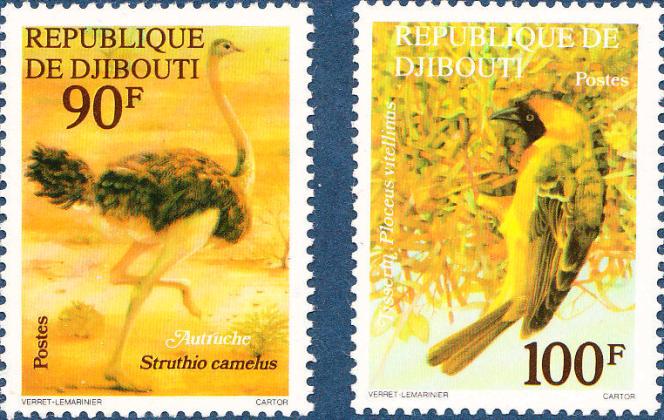 Les premiers timbres de Jean-Paul Véret-Lemarinier, pour Djibouti (1977).
