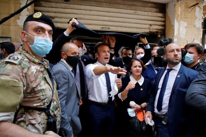 Le président Emmanuel Macron, le 6 août à Beyrouth.