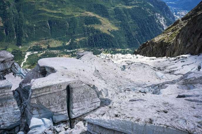Leglacier de Planpincieux, sur le massif du mont Blanc (Italie), le 7 août.