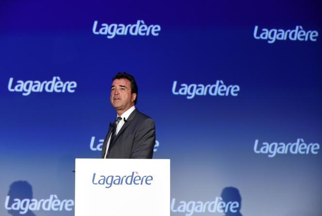 Arnaud Lagardère,dirigeant du groupe Lagardère, le 3 mai 2018 à Paris.