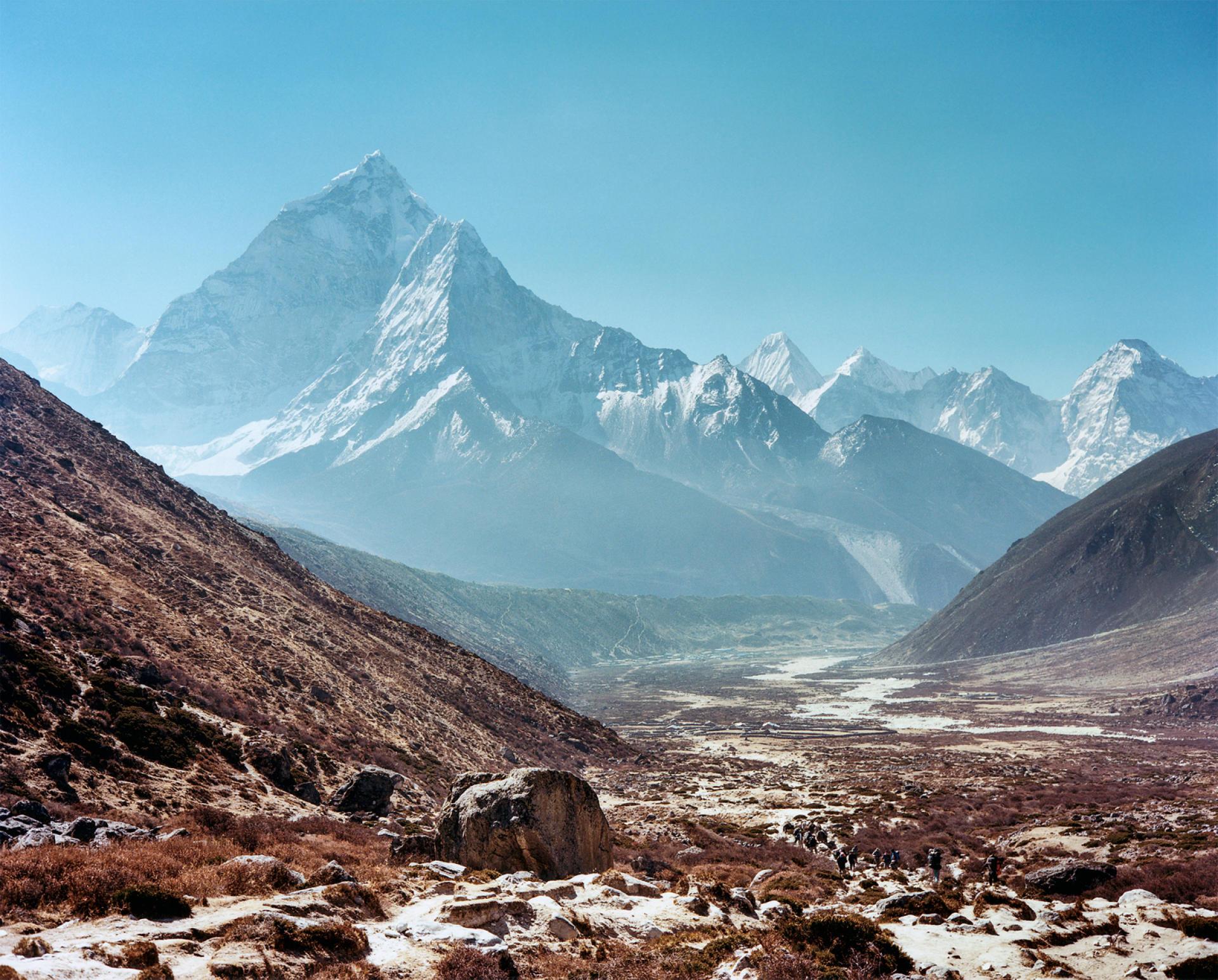 Le sommet Ama Dablam vu depuis la vallée de Pheriche (Népal).