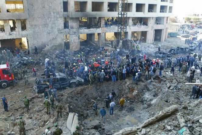 Le site de l'explosion qui a tué Rafic Hariri, le 14 février 2005 à Beyrouth.