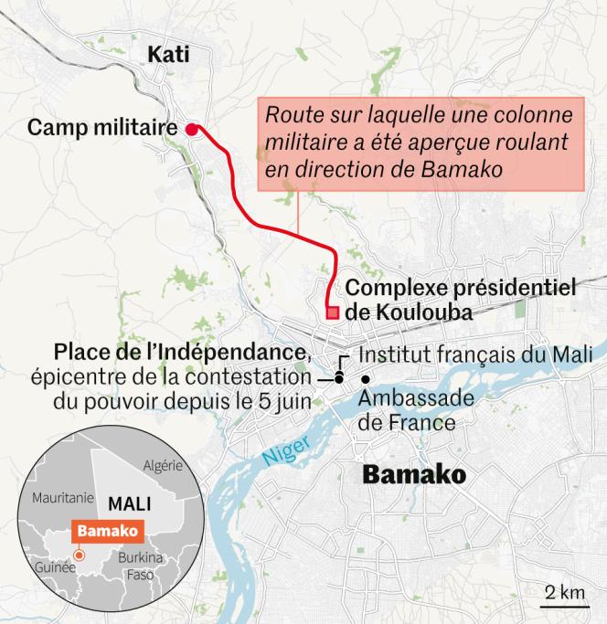 Une quinzaine de kilomètres séparent la ville garnison de Kati et la capitale malienne, Bamako.