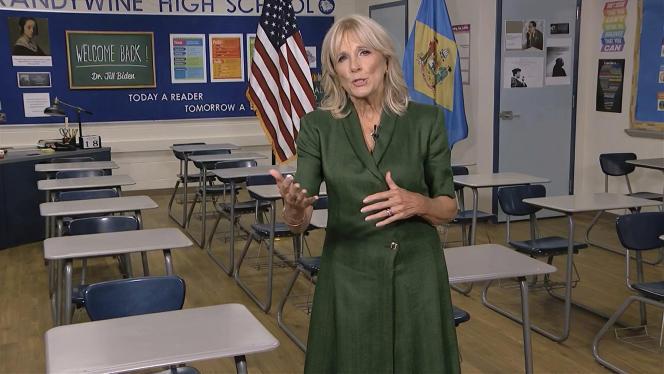 Jill Biden, l'épousedu candidat démocrate Joe Biden, s'exprime dans une vidéo, au deuxième jour de la convention démocrate, le 18 août 2020.