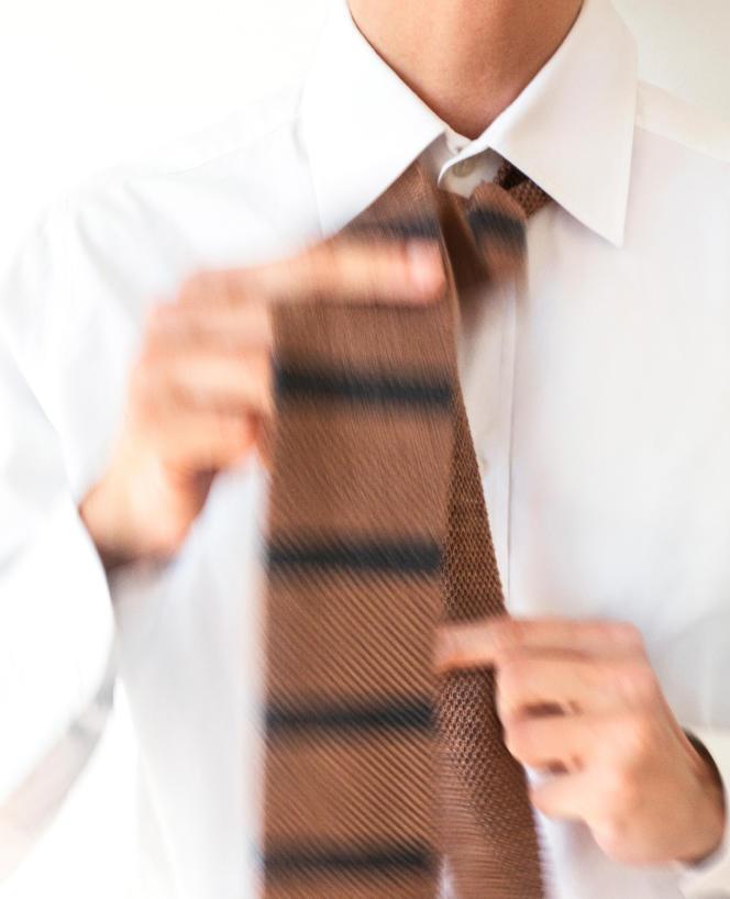 Cravate tricotée en cachemire, Brunello Cucinelli, 280 €.
