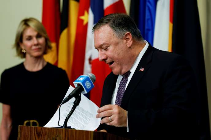 Mike Pompeo lors d'un point de presse au siège de l'ONU à New York le 20 août.