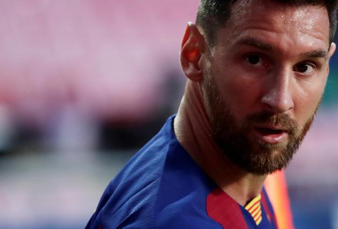 Lionel Messi lors des quarts de finale de la Ligue des champions contre le Bayern Munich, le 14 août, à Lisbonne.