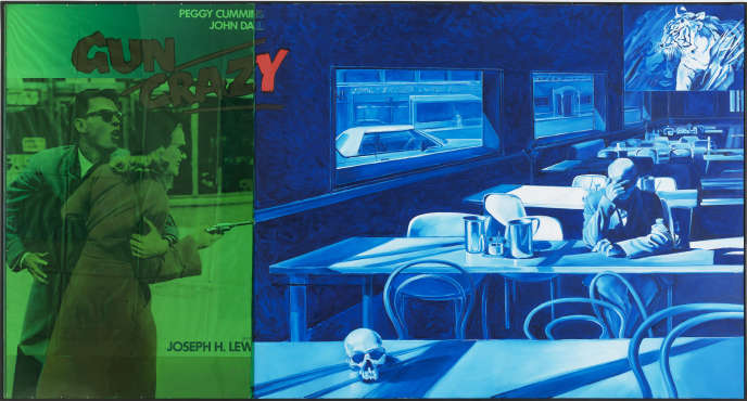 «Couleur n° 1» (2002), de Jacques Monory, huile sur toile, affiche de cinéma « Gun Crazy », de J.H. Lewis, et plexiglas, 160 x 300 cm.