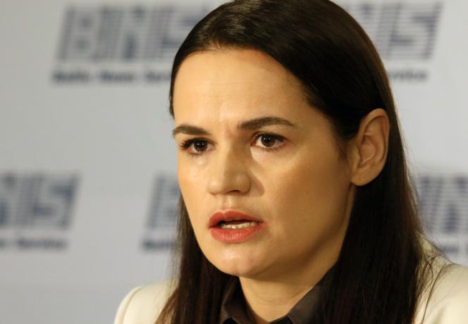 La chef de file de l'opposition biélorusse, Svetlana Tsikhanovskaïa, le21 août à Vilnius, en Lituanie.