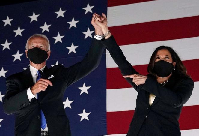 Joe Biden et Kamala Harris, respectivement candidats à la présidence et à la vice-présidence des Etats-Unis, à Wilmington, le 20 août 2020.
