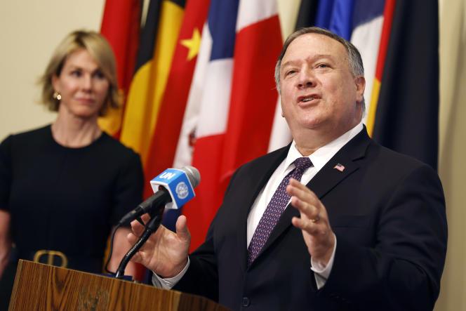 Le chef de la diplomatie américaine Mike Pompeo s'adresse aux journalistes à la suite de la réunion avec des membres du Conseil de sécurité des Nations Unies, le jeudi 20 août 2020.