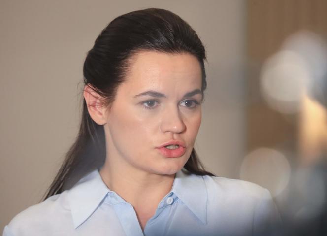 La figure de l'opposition biélorusse Svetlana Tsikhanovskaïa, lors d'un entretien avec l'AFP, à Vilnius, en Lituanie, le 22 août.