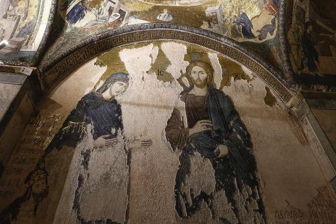 Détail de l'une des fresques de l'église byzantine Saint-Sauveur-in-Chora à Istanbul, le 21 août.