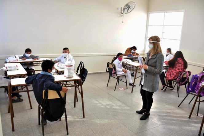 Une école a ouvert dans la province de San Juan (Argentine), épargnée par le coronavirus, le 20 août.