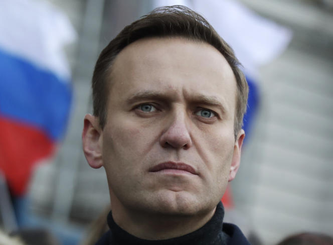 Alexeï Navalny lors d'une marche en mémoire de l'opposant Boris Nemtsov à Moscou, le 29 février 2020.