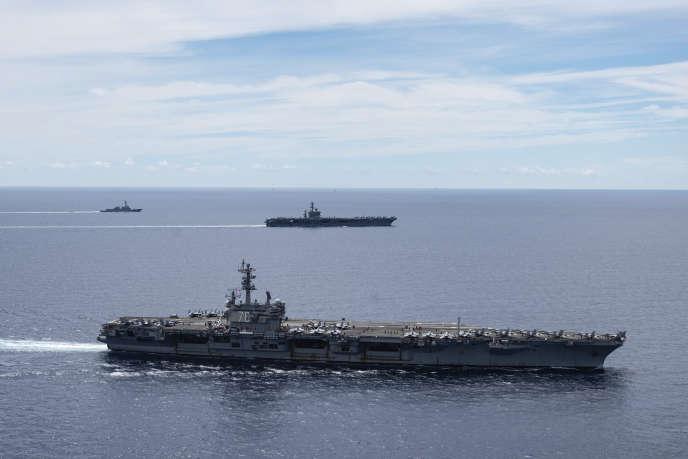 Des navires américains en mer de Chine méridionale, le 6 juillet.