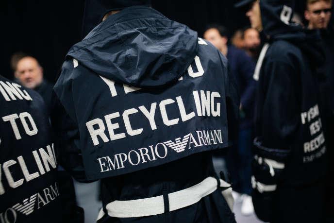 En janvier à Milan, Emporio Armani, collection automne-hiver 2020.