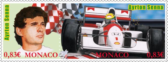 Timbres de Monaco dessiné par David Maraskin sur Ayrton Senna (2014).