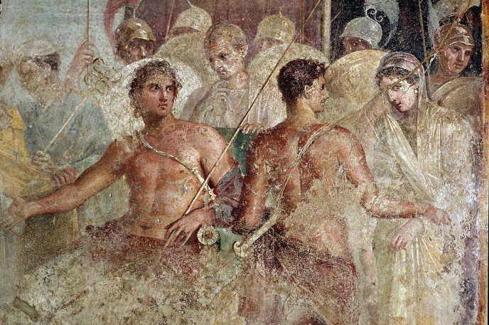 « Les adieux d'Achille et de Briséis », détail d'une fresque de Pompéi, Musée d'archéologie de Naples.