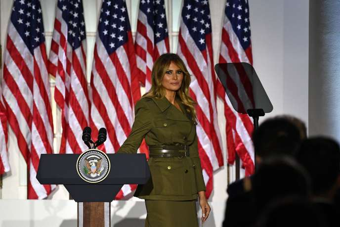 Melania Trump lors de la deuxième journée de la convention républicaine, dans la roseraie de la Maison Blanche, mardi 25 août 2020.